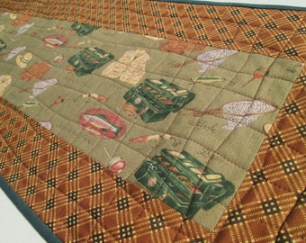 Quilted Rustic Fishing Theme Table Runner