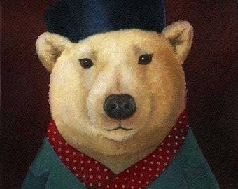 Polar Bear Print- Christmas Print - Polar Bear Portrait - Polar Bear Art - Chistma Art - Red Polka Dot Scarf