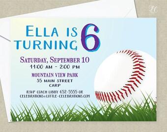 Baseball Birthday Party Invitation - Baseball Party Invitation - Girls Baseball Invitation - Girls Baseball Party Invitation