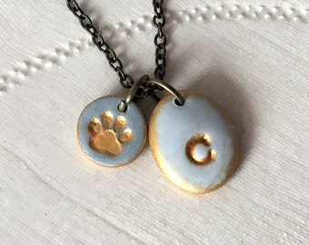 Pet Initial Necklace, Dog Memorial, Cat Memorial. Paw Charm, Letter Necklace, Puppy, Pet Friend Memorial. Letter Stamped Color Charm