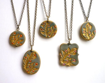 Bridesmaids Necklaces - Set of 5 - Romantic Chic Wedding - Hand painted studded Jewelry - Personalized with Initials
