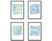 Nautical print set of 4 watercolor prints Sea glass art watercolor paintings blue green abstract art nautical home decor