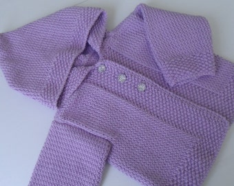 Handknit baby coat, DK cotton sweater, baby girl, knitted jacket,  buttoned sweater, lilac cotton, gift for baby, ready to ship