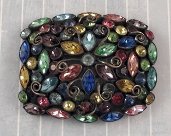 Vintage Pastel Rhinestone Pin, 1920s Flapper Brooch, Sash Jewelry, Multi Color Rhinestones, Large Roaring Twenties Accessory