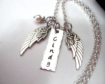 Super Sale Now Memorial Jewelry, Personalized Jewelry, Memorial Necklace, Angel Wing Necklace