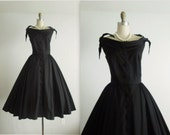 50's Taffeta Dress // Vintage 1950's Anne Fogarty Black Taffeta Cocktail Party Evening Circle Dress XS