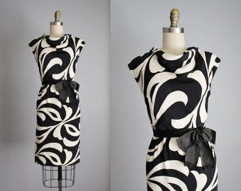 STOREWIDE SALE 60's Mod Dress // Vintage 1960's Adele Simpson Black White Swirl Cocktail Party Mod  Dress S