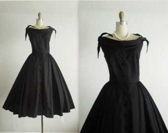 50's Taffeta Dress // Vintage 1950's Anne Fogarty Black Taffeta Cocktail Party Evening Circle Dress XS