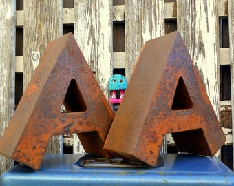 Vintage Marquee Sign Letter Capital 'A': Rustic Metal Wall Hanging Initial with Reverse Lit LEDs -- Industrial Neon Channel Advertising