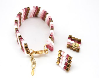Beaded Jewelry Set in Magenta, Pink, White & Bronze