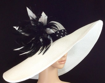 Black White Kentucky Derby Hat with Polka Dot hat band & Hand-trimmed Feathers,Fascinator Hat