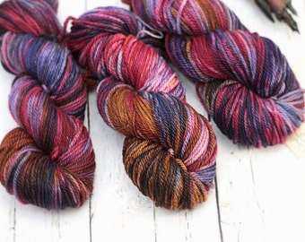 "Hand dyed Yarn Superwash Merino Clover Worsted ""Tapestry"" Swoon Fibers"