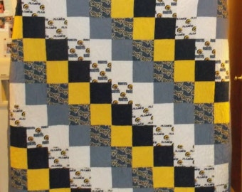 """ST. LOUIS RAMS Quilt Clearance Sale (appx 60 x 64"""""""" sq) Large Lap Quilt navy, grey, yellow and white"""