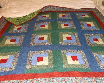 """FINAL MARKDOWN lap QUILT Flannel log cabin appx 52"""" sq blues greens reds and burnt orange/Affordable Gift"""