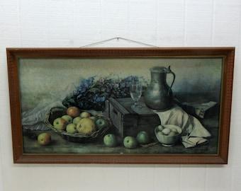 Vintage Henk Bos Still Life Print Wall Hanging Hang Bog Still Life Fruit Framed Print