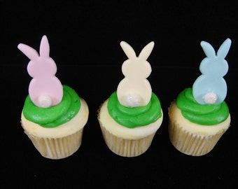Edible Fondant Bunnies with Fuzzy Tails Cupcake Toppers, Easter Cupcake Toppers, Bunny Toppers, Edible Bunnies, Easter Cupcakes, Baby Shower