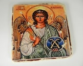Archangel St Raphael Icon Stone Plaque Religious Home Decor Christian Icon