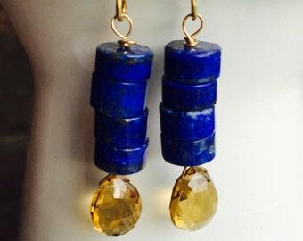 Lapis Rondelle Earrings, Whiskey Quartz Briolettes, Dangle Earrings, Blue and Amber Color Earrings, Etsy, Etsy Jewelry, Alysbeads