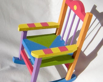 Doll Rocking Chair Soft Rainbow Colors Tiny Size