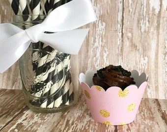mini pink and gold polka dot cupcake wrappers, gold and pink mini cupcake wrappers, mini wedding cupcake wrappers, set of 24