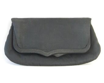 Vintage 1950s/1960s Black Peau de Soie Clutch Bag by Etra