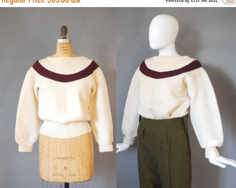30%OFF 1950s Wool Sweater / Princeton Sweater / 40s