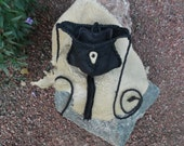 Hand Laced Black Deerskin fully lined in Gray Leather Medium Football Bag Shoulder Crossbody