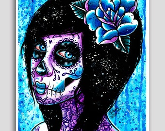 Azula 18x24 inch poster sized art print - Day of the Dead Sugar Skull Girl Pop Art Portrait Illustration Wall Art Tattoo Inspired