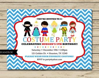 Costume Birthday Party Invitation - Princess, Ninja, Pirate, Fairy, Turtle, Boys, Chevron, Dress Up, Boy, Girl, Printable