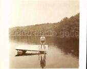 Vintage Photo, Man in Bathing Suit on Lake, Black and White Photo, Old Photo, Found Photo, Snapshot , Vernacular Photo     Augustine1505