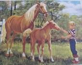 """Original Vintage School Classroom Poster Print - Circa 1968 - horses - 9"""" x 12"""""""