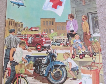 "Large Vintage Illustrated Classroom School Poster 2 Sided -- 20"" x 25"" Motorcycle Helicopter - Many to choose from!"