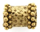 Beads-8x10mm Pewter Granular Rim Tube-Antique Gold-Quantity 1