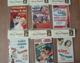 Clark Gable Set of 7  magnets movie posters plus 1 of Gable with a quote Jean Harlow, Myrna Loy, Gene Tierney, Carole Lombard