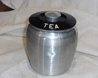 Vintage Aluminum Tea Cansiter with Lid