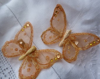 Orange mesh sparkly glitter sequin  butterfly hairclips 3""