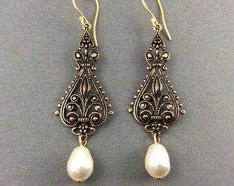 Bridal Chandelier Earrings With Large Antique Gold Filigree And Swarovski Cream Teardrop Pearls