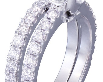 GIA G-VS2 18k White Gold Cushion Cut Diamond Engagement And Band Novo 1.88ct