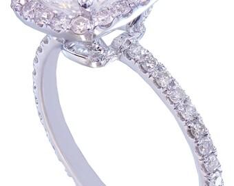 GIA G-VS2 18k white gold cushion cut diamond engagement ring halo 2.10ctw