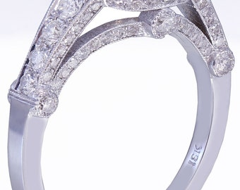 18k white gold cushion diamond engagement ring bezel set 1.80ct E-VS2 EGL USA