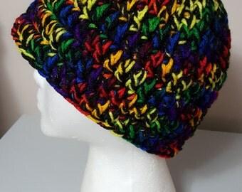 Black Rainbow Crochet Beanie Ladies Winter Hat