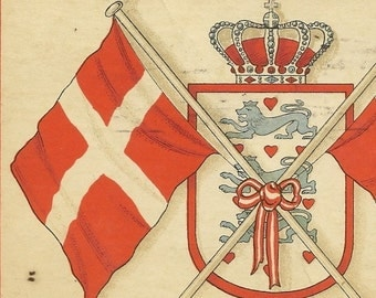 Vintage Postcard Pair of Danish Flags and Coat of Arms – Colorful and Bright Postally Used