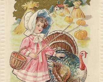 Stunning Embossed Vintage Thanksgiving Postcard Young Girl Leads Pet Turkey Through the Harvest Field – 1912 J Herman