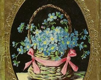 Forget-me-Nots in Basket Vintage Gelatine Birthday Postcard Lavish Gold Frame