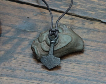 Small hand Forged Pure Iron Mjolnir pendant, Thor's Hammer necklace.