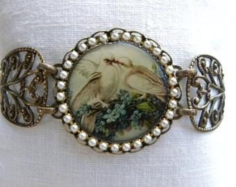 White Doves Victorian Bracelet, Shabby Chic Bracelet, Bird Bracelet, Doves, Valentine's Day