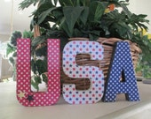 USA in paper mache letters - 4th of July Decoration, Patriotic, Memorial Day Decoration