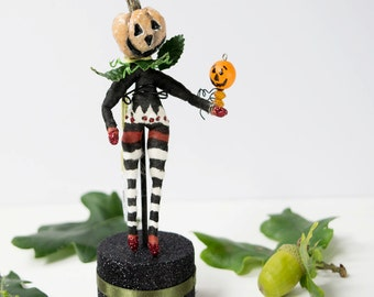 Handmade OOAK art doll Pumpkin spun cotton figurine with striped trousers. Autumn decor/ Halloween decoration