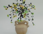 wire tree sculpture ,beaded tre, bonsai tree, tree of life , feng shui tree ,yellow and green flowers