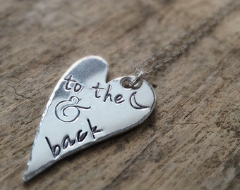 Hand stamped Heart Necklace, I Love You To The Moon and Back Necklace, Sterling Silver Necklace, Boho Luxe, Bohemian Jewelry